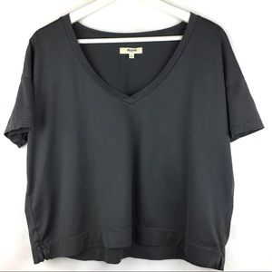 Madewell Cropped V-Neck Tee Slate Grey Small